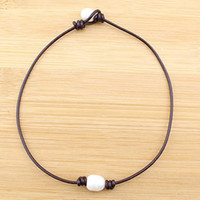 asian culture - 100 handmade mm rice shape necklace genuine leather cord necklace with freshwater cultured pearl women choker necklace