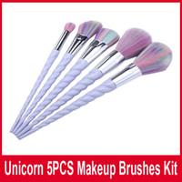 Wholesale 5pcs set Makeup Brushes Spiral Colorful Brushes Professional Brushes Set Plastic Unicorn Spiral Brush Set Tool DHL