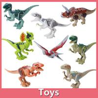 achat en gros de dinosaur toy-8pcs / lot Jurassic World Park Minifigures Dinosaure Briques Mini Figures Bâtiments Super Heroes Enfants Jouets Compatible