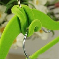 Wholesale Random Color Creative Mini Flocking Clothes Hanger Easy Hook Closet Organizer lt no tracking