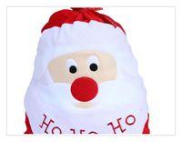 Wholesale ASLT Christmas Day Decoration Santa Large Sack Stocking Big Gift bags HO HO Christmas Santa Claus Xmas Gifts