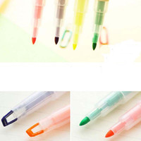 Wholesale 10pcs Creative Highlighter Double headed Pens Design Markers Fluorescent Pen Stationery Scrapbook Material School Supplies