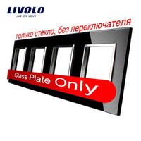 Wholesale LS Livolo Luxury Black Pearl Crystal Glass mm mm EU standard Quadruple Glass Panel For DIY Wall Switch Socket