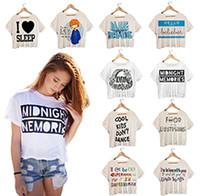 Women O-Neck Short Wholesale-Summer Style Personality Digital Printed Crop Tops Harajuku Punk Fitness Women Short Sleeve T shirts Cute Girl T-shirt