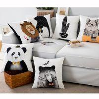 Wholesale 5pieces Pillowcase Covers Fibre in White Base x cm Bear Lion Cactus Fox Panda