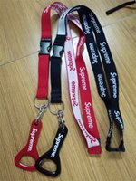 Wholesale Promotion fashion red black color woven material USA neck lanyard with beer opener Multi function lanyard