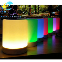 Wholesale Wireless Led Pamp Bluetooth Speaker Hands free Call Reminder Color Changeable LED Light Lamp With TF Card Music Player Smart Speakers