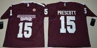 Wholesale New Style College Dak Prescott Maroon Jerseys Mississippi State Bulldogs Jerseys Dak Prescott Uiforms Team Color Maroon