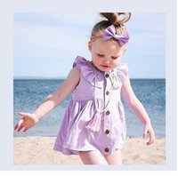Wholesale INS styles Hot sell Super cute summer girls Dress Cotton solid color cardigan dress girl elegant dress T