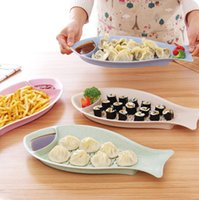 Wholesale kitchen tools Creative Fish Sushi Plate dessert snack plate French fries plate Dumplings dish double layers Drain dish M21