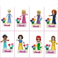 Wholesale Princess Mini Figures DIY Ariel Cinderella Aurora Rapunzel Mei Lida Jasmine Belle Snow White Building Blocks
