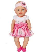 Wholesale 2pcs set Dress Hairband Cute Pink Dress For cm New Baby Born Zapf Doll Clothes