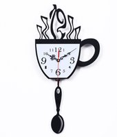 Wholesale coffee cup wall clock time personalized creative fashion watches sway bar restaurant kitchen living room decoratio