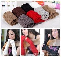 Wholesale LJJG289 Pairs Women Rhombus Jacquard Knitted Arm Fingerless Mitten Fashion Winter Woolen Yarn Warm Long Gloves