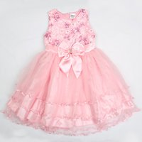 Wholesale Lolita style embroidered with bowknot round neck sleeveless knee length girls dress princess dress