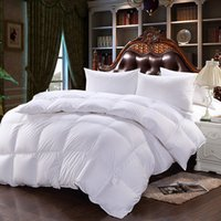 Wholesale 2016 New Pure Cotton Fabric Down Comforter Thicken Winter White Duck Down Quilt Twin Full Queen King Size Colors