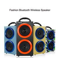 al por mayor de radio al aire libre mp3-Altavoces portátiles inalámbricos Bluetooth Altavoces de subwoofers de deportes al aire libre con micrófono de apoyo TF tarjeta de radio FM Altavoces de lujo de alta calidad