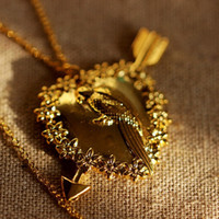 al por mayor antiguos encantos de oro para collares-Dos Broke Collar de las muchachas Collar máximo oro antiguo o joyería de plata antigua encanto encantador del pájaro C46N