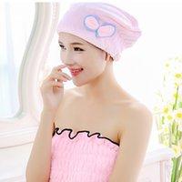 Wholesale Lady s Hair Dry Towel Magic Quick Hair Care Drying Turban Wrap Hat Cap Bowknot Shower Caps Hair Dry Drying Turban Bathing Tool