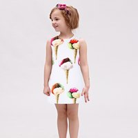 Knee-Length american color print - W L MONSOON Girls Dress Summer Vestido Menina Infantil Princess Dress Costume for Kids Clothes Children Ice Cream Dresses