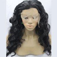 Wholesale 18inch Long Body Wave Synthetic Hair Lace Front Full Cap Wigs Kanekalon Heat Resistant Fiber Black Wig For Women