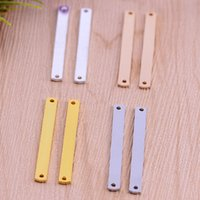 bar blank - Silver Gold Plated Stamping Bar Stamping charms Blank long square bar Pendant Charms for Layering Necklace copper charms