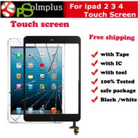 Wholesale 50PCS Touch Screen Glass Panel with Digitizer Buttons Adhesive for iPad Black and White