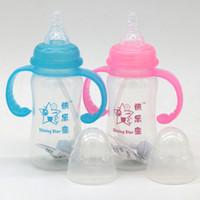 Grossesse-Cute bébé bouteille d'entraînement de la tasse d'enfants nourrissons nouveau-nés Apprenez Feeding potable poignée de bouteille Kids Straw Juice bouteilles d'eau180ml