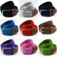 Wholesale Retail Colors Fashion Candy Color Canvas Belts Men Women Solid Color Elastic Braided Belt Needle Buckle Golf Woven Belts