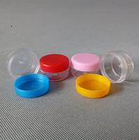 Wholesale Plastic Facial Cream Jars gel cosmetic bottles Empty Clear Plastic Jar Pot Cream Sample Containers transparent bottle With colorful caps