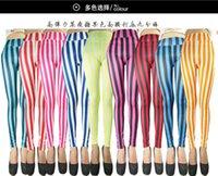 al por mayor polainas originales-Europa y los Estados Unidos el otoño único original y las polainas de moda de invierno nueva cintura vertical de rayas caramelos color leggings pan