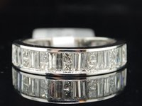 baguette wedding bands - Princess Baguette Cut Diamond Wedding Band K White Gold Ladies Ring CT