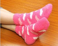 Wholesale Winter big love peach heart coral fleece socks floor stockings female upset terry socks
