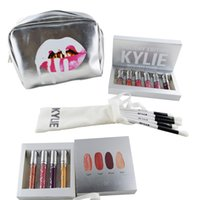 Wholesale Kylie Cosmetics Holiday Edition set Matte Liquid Lipsticks Sliver Kylie Jenner Make Up Bag set Kylie Brushes