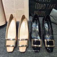 Pumps belle heels - japanned patent genuine leather classic metal buckle chunky heel belle viver rv shoes
