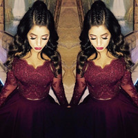 bamboo triangle - Burgundy Lace Long Sleeve Formal Evening Dresses V Neck Crystal High Low Arabic Evening Gowns Sleeves Two Piece Prom Dress Party Gown