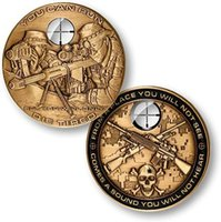 army challenge coins - 5pcs The USA USMC sniper rifle sniper gold plated challenge coins US army