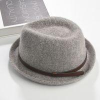 Brand New Fashion Pure hommes Casquette en cuir Large Brim Caps fedoras Floppy Jazz chapeau Vintage Populaire casquettes en laine chapeau de femme chapeau plat Haut