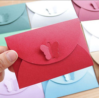 Wholesale cmcm Small Paper envelope Colorful Butterfly clasp envelopes wedding invitation envelope gilt envelope