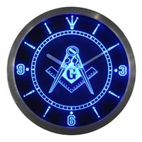 Wholesale nc0087 Masonic Mason Freemason Neon Sign LED Wall Clock