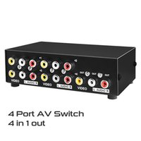 av audio video switcher - 4 Port AV Switch Switcher in out Audio Video Converter Box RCA convert to HD TV AV Adapter