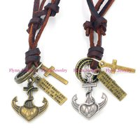anchor party decorations - Leather Necklace Pendant Jewelry Anchor Accessories Metal Pendulum Amulet Hip Hop Women Mens Decorations Jewelry Gifts