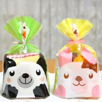Wholesale Cookies Bunny - 800Pcs 14*20cm Green Bear Yellow Bunny Flat Bags Plastic Bakery Cookies Bread Event Packing Packaging Pouch Open Top Poly Bag