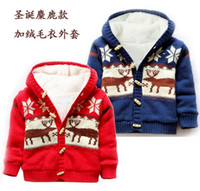 american button machines - Baby Button up Cotton Coat Deer Christmas Cardigan Sweater Winter Warm Sweater Children Top p l