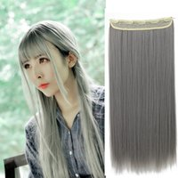 Wholesale Heat Resistant Remy Synthetic Clip In Hair Extension Straight Gray Hair Extensions Highlights Hairpieces For Women Full Head