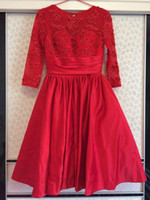Wholesale 2016 winter in stock wedding dress red satin lace top long sleeves tea length high quality second hand wedding gown