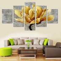al por mayor marco digital de la pared-Decoración para el hogar Pinturas de pared Abstracto Flor Pintura de lienzo 5 Panel No hay marco Arte moderno Imagen impresa