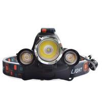 Wholesale Linterna frontal LED Headlamp Lumens Head lamp T6 LED Headlight head torch LED flashlight recharger Battery