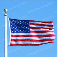 Wholesale 150 cm x5FT American America Flag Double sided printed USA United Stated flag Home Office Garden Decor flags
