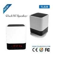 Wholesale White mini desktop wireless clock bluetooth speaker